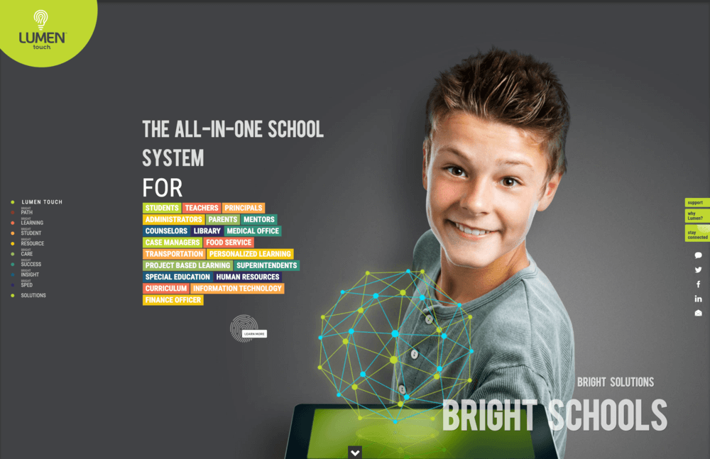 Lumentouch.com exhibits a plethora of cutting edge solutions for forward thinking school systems.
